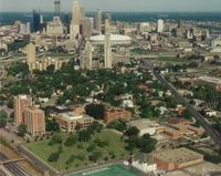 Augsburg College campus, aerial view facing northwest, 1993.