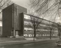 Science Hall, northwest corner, facing southeast, circa 1949.