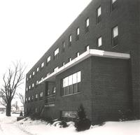 Gerda Mortensen Hall, east facade, facing south, circa 1965.