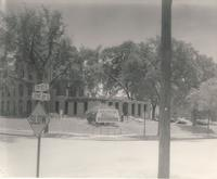 Old Main (1872-1948), demolition, northwest corner of west wing, facing southeast, 1948.