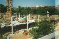 Lindell Library, construction of second floor, facing northeast, 1996.