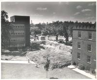 Sverdrup Hall, construction site, facing northwest, 1954-55.