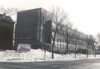 Science Hall, construction, northwest corner, facing southeast, 1949.
