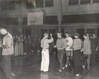 Gymnasium, interior, facing west, circa 1957.