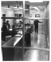 Sverdrup Library, circulation desk, circa 1960.