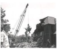 Morton Hall, demolition of northeast corner, facing southwest, 1959.