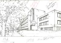 Science Hall, architectural drawing, circa 1984.