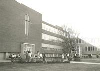 Science Hall and Sverdrup Hall, facing northwest, circa 1955-1960
