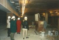 Lindell Library, construction of lower level, facing west, 1997.