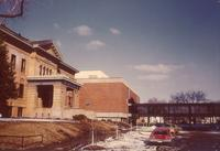 Christensen Center, west facade, facing northeast, circa 1975.