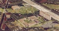 Augsburg College campus, architect's drawing, aerial view facing southeast, circa 1965.