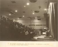 Si Melby Hall, gymnasium during chapel service, facing east, circa 1965.