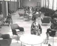 Si Melby Hall, lounge area, facing south, circa 1962.