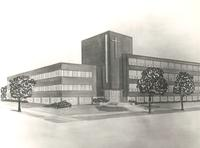Science Hall, architectural drawing, circa 1948.