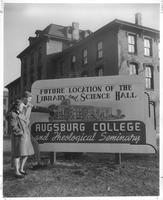 Sign announcing the future location of the Sverdrup Library and Science Hall, facing southeast, 1947-1948.