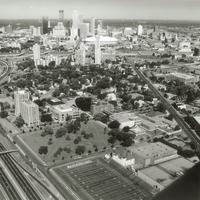 Augsburg College campus, aerial view facing northwest, 1990-1991.