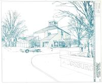 Foss Lobeck Miles Center, architect's rendering, facing southeast, 1984.
