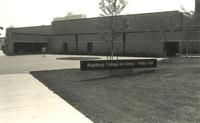 Ice Arena, plaza at north entrance, facing southeast, circa 1990.