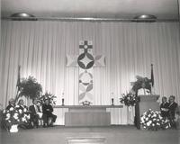 Si Melby Hall, chapel set-up, circa 1962.