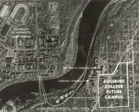 Minneapolis, viewed from above, with overlay of Augsburg College Future Campus.