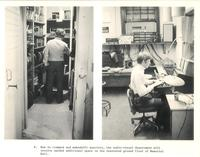 Sverdrup Library, audio-visual department, circa 1970.