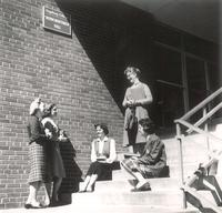 Gerda Mortensen Hall, steps to east entrance, 1950s.