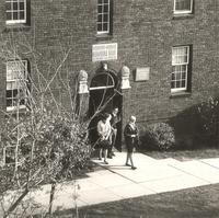 Sverdrup Oftedal Memorial Hall, south quad entrance, facing southeast, circa 1950.