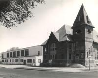 Music Building, west facade and Gymnasium, southwest corner, facing northeast, circa 1955.