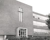 Science Hall, east facade, facing northwest, circa 1950.