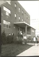 Gerda Mortensen Hall, east entrance, facing northwest, circa 1960.