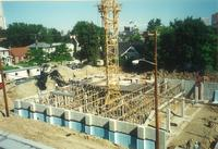 Lindell Library, construction of basement, facing northeast, 1996.