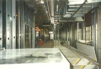 Lindell Library, construction of second floor, facing west, 1997.