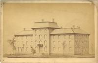 Old Main (1872-1948) rendering, north and west facades, facing southeast, circa 1872.
