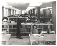 Sverdrup Library, periodicals section, facing east, circa 1960.