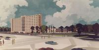 Architect's rendering of Augsburg College, facing northwest, circa 1965.