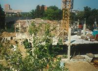 Lindell Library, construction of first and second floors, facing north, 1996.