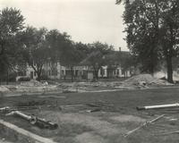 Science Hall, construction site, facing northwest, 1949.