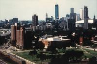 Augsburg College campus, aerial view facing northwest, circa 1983.