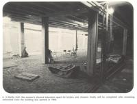 Si Melby Hall, construction of women's lockers and showers, circa 1960.