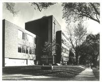 Sverdrup Hall, west facade, and Science Hall, northwest corner, facing southeast, circa 1955.