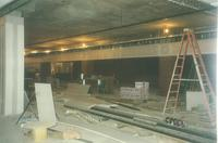 Lindell Library, construction of lower level, facing southeast, 1997.