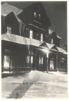 Morton Hall, east facade, facing northwest, night time, circa 1950.
