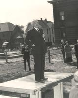 Science Hall, groundbreaking ceremony, facing southeast, 1948.