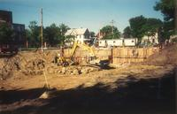 Lindell Library, construction site, facing southwest, 1996.