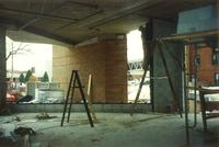 Lindell Library, construction of first floor, facing east, 1997.