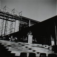 Si Melby Hall, cornerstone ceremony, facing east, 1960.