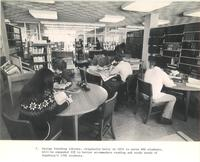 Sverdrup Library, periodicals section, facing south, 1960s.