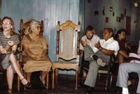 ara Pallmeyer translating for a delegation meeting, possibly with Base Christian Community members in Leon, Nicaragua, 1984