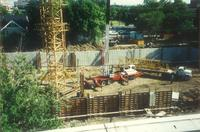Lindell Library, construction of basement, facing north, 1996.