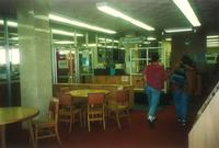 Sverdrup Library, circulation desk, facing east, 1996.